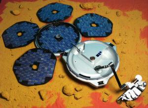 Beagle 2 po rozevření solárních panelů a vztyčení robotického ramena.
