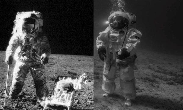 Porovnejte snímky, které dělí 44 let. Zleva: Pete Conrad (Apollo 12) a Jean-François Clervoy zdroje:nasa.gov, esa.int