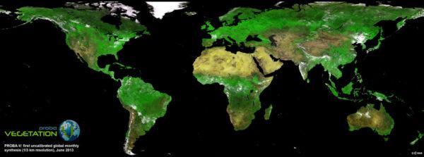 První globální mapa vegetace pořízená družicí Proba-V ve vysokém rozlišení.