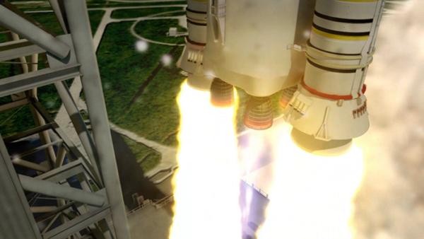 Animace startující rakety SLS s detailem na motory RS-25.