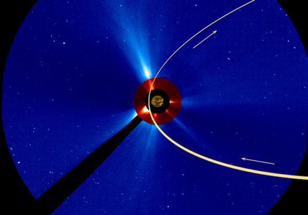 Pohled sondy SOHO na Slunce s vyznačenou dráhou komety.