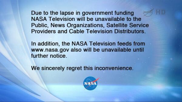 Tato zpráva nahradila vysílání NASA TV.