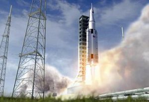Start rakety SLS - zatím jen jako počítačová vizualizace