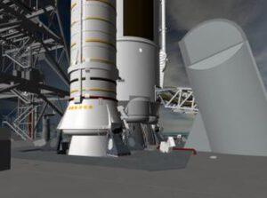 Detailní vizualizace horní části plošiny MLP s raketou SLS.