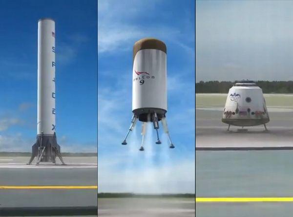 Vize společnosti SpaceX: První i druhý stupeň, schopný motorického přistání a společně nimi i Dragon rider