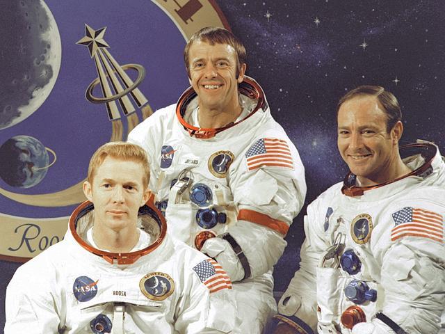 """Posádka """"kosmických zelenáčů"""": (zleva) Roosa, Shepard, Mitchell"""