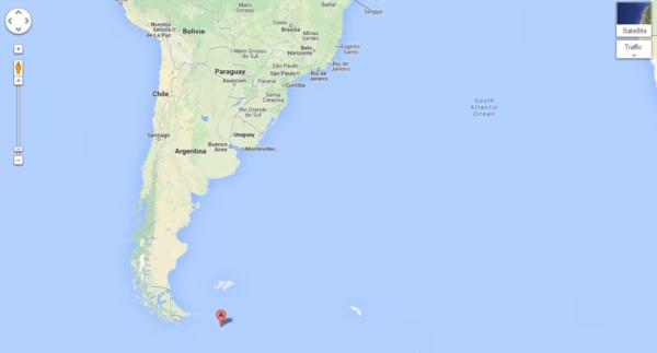 Mapa s vyznačenou oblastí dopadu zbytků sondy GOCE
