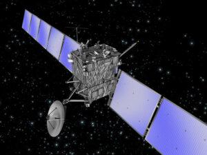Ilustrace kometární sondy Rosetta.