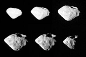 Série snímků planetky 2867 Šteins vyfocené z různých perspektiv. Povšimněte si mohutného kráteru v horní části asteroidu.