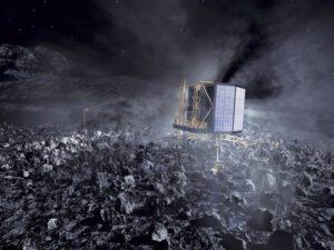 Vizualizace přistávacího modulu Philae na povrchu kometárního jádra.