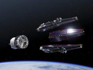 Trojice družic Swarm při oddělení z posledního stupně nosné rakety