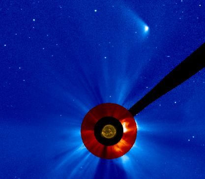 Snímek pozůstatku komety ze sondy SOHO