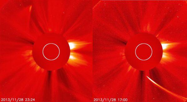 Srovnání fotek ze sondy SOHO po průletu a před ním