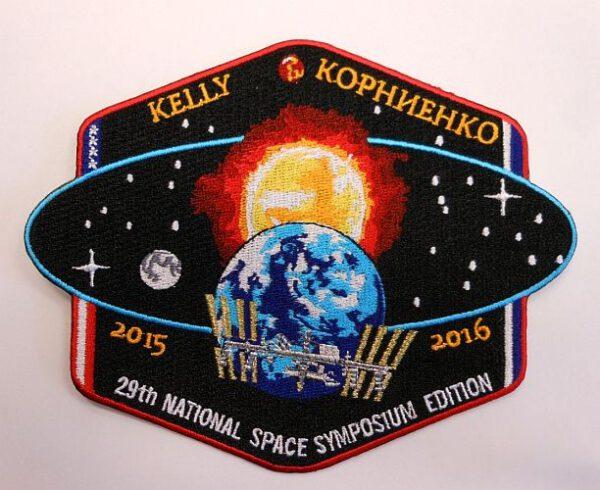 Logo ročního pobytu Scotta Kellyho a Michaila Kornijenka na ISS