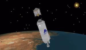 Vizualizace oddělení sondy MAVEN od stupně Centaur
