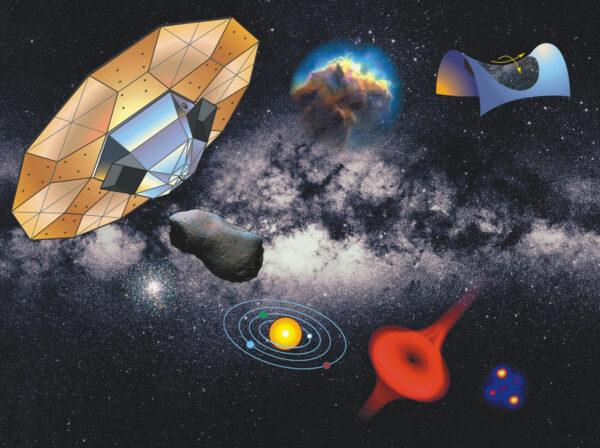 Starší poster s družicí Gaia. Všimněte si, že se jedná ještě o verzi s odlišným vzhledem. Tuto verzi měla do kosmu vynést ještě raketa Ariane 5.