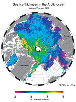 První mapa tloušťky mořského ledu.