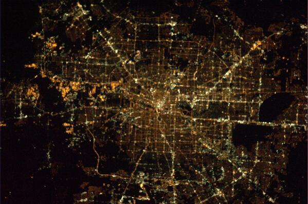 Noční americké město Houston