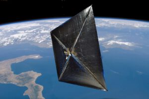 Umělecká představa Solární plachetnice Nanosail-D