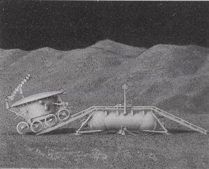 Takto z přistávací plošiny sjížděla na Měsíc vozidla Lunochod: sklon rampy byl větší, než jejich konstrukční maximum, takže šlo o velmi riskantní operaci