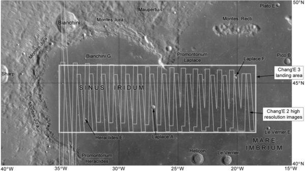 Předpokládané místo přistání čínského landeru Chang'e 3