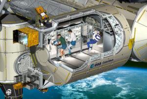 Řez laboratorním modulem Columbus. Zleva doprava můžete vidět čtyři skříně experimentů Fluid Science Laboratory, Biolab, European Phisiology Modules a European Drawer Rack. Ve stropní části pak European Storrage Rack. Ovšem současné umístění je odlišné. Vlevo vně modulu pak můžeme dole vidět platformu EuTEF a nahoře SOLAR, který trochu vypadá jako malý teleskop na stativu.