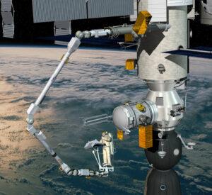 Ilustrace robotického manipulátoru ERA připojeného k ruskému modulu Nauka. Na konci paže můžeme vidět kosmonauta, který pomocí speciálního rozhraní celou paži ovládá.