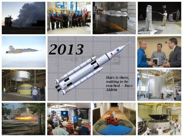 Konec roku 2013 připomněla na svém facebookovém profilu i připravovaná raketa SLS.