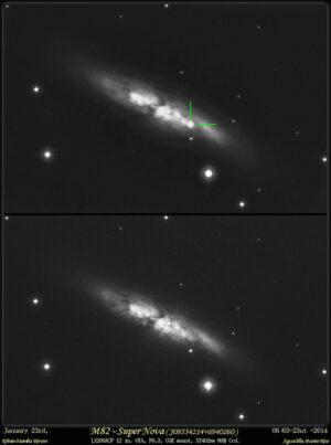 snímek M 82 z rána 23.1. (06:23 světového času) a dřívější z dubna 2013.