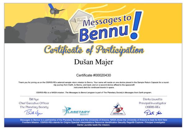 Takto vypadá certifikát, který si můžete nechat vygenerovat.