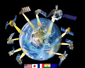 Vyobrazení družic spolupracujících na projektu GPM.