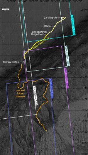 Ujetá a plánovaná trasa roveru Curiosity
