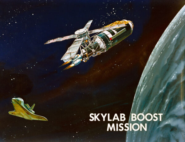 Dálkově řízený stupeň TRS odesílá Skylab na vyšší dráhu – ovšem jen v představách malíře.