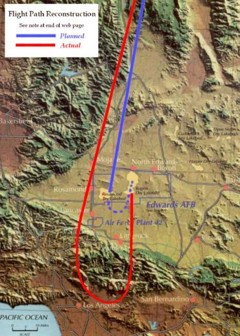 Modře- běžná letová trasa X-15, červeně- trasa Armstronga během letu 20.4.1962