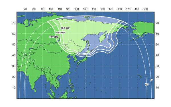 Mapa ukazující pokrytí družicí Ekspress AT-2