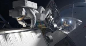 Vizualizace ukazující kosmonauta při výstupu do volného kosmu, kterak se přesouvá k zachycenému asteroidu.