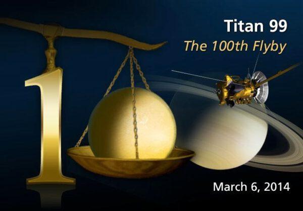 Grafika ke stému průletu sondy Cassini kolem měsíce Titan