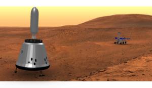 Raketa MAV se vzorky stoupá z útrob lodi RedDragon.