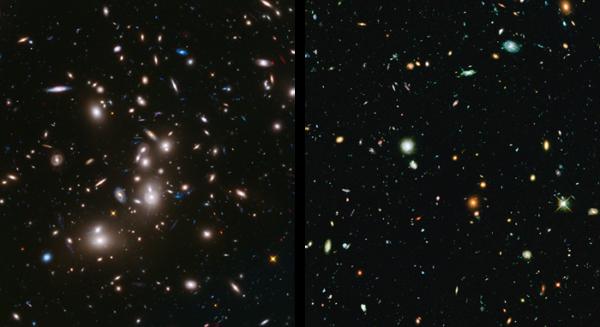 """První záběry Frontier Fields kupy Abell 2744 (zatím pouze cca polovina kompletních obrazových dat) Vlevo hlavní """"Frontier"""" pole . Levý snímek je v barvách jež mají zvýraznit nově zaznamenaná data v infračerveném oboru (IR data červeně, data ve viditelném světle z archivních snímků v modré a zelené barvě). Vpravo souběžné paralelní pole. Všechny barvy patří oblasti viditelného světla."""