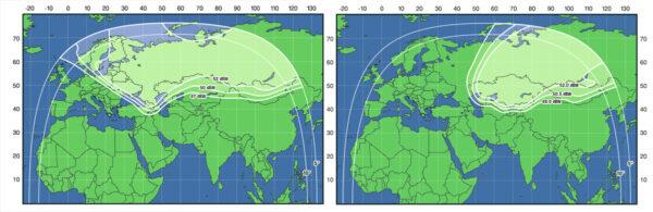 Mapa ukazující pokrytí dvou antén na satelitu Ekspress AT-1.