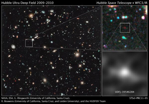 v levé části obrázku náhled na HUDF, vpravo výřez a zoom daleké kompaktní galaxie UDFj-39546284 složené především z modrých hvězd tak jak vypadala 480 milionů let po velkém třesku.