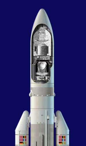 Umístění Plancka a Herschella na raketě Ariane 5.