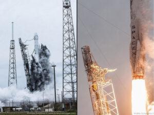 Dvě fotografie ze startu ukazující ošplíchnutí rakety vodou na tlumení akustických vibrací.