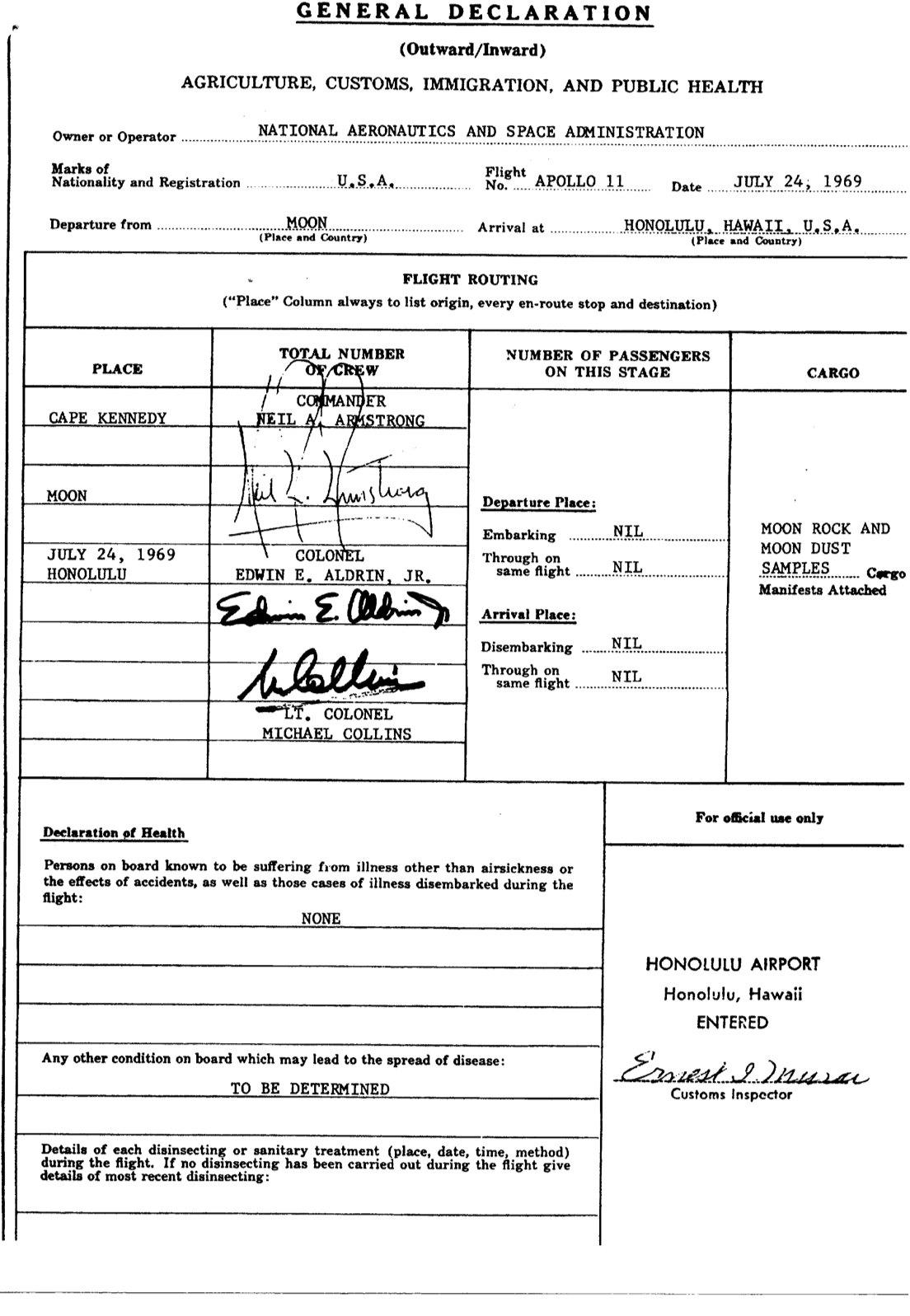 Celní deklarace posádky Apolla-11