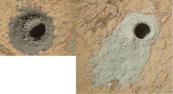 Barevné odlišnosti vyvrtaného prachu jsou vidět na první pohled - Vlevo tmavý materiál z kamene Windjana, vpravo pak světlejší vzorek z oblasti Yellowknife bay (sol 180)