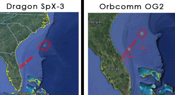 Porovnání přistávacích oblastí u posledního startu (vlevo) a u startu chystaného (vpravo)