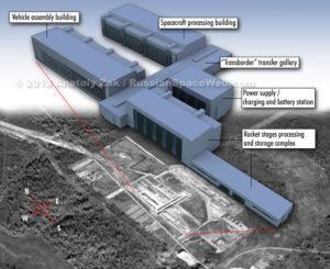 Květen 2013 konečná podoba technických budov a jejich stávající podoba na satelitním snímku