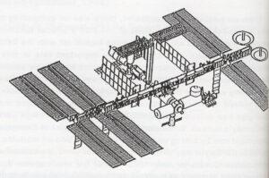 FGB se na podzim 1993 objevuje v návrhu ISS: všimněte si, že modul má tehdy i zenitový (horní) stykovací uzel, na kterém je ruská energetická platforma SPP.