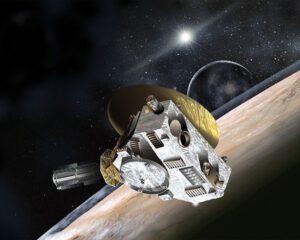 Umělecká představa sondy New Horizons u Pluta