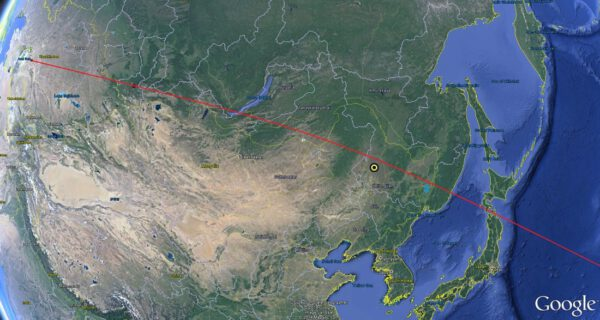 Trajektorie letu s vyznačenou oblastí dopadu